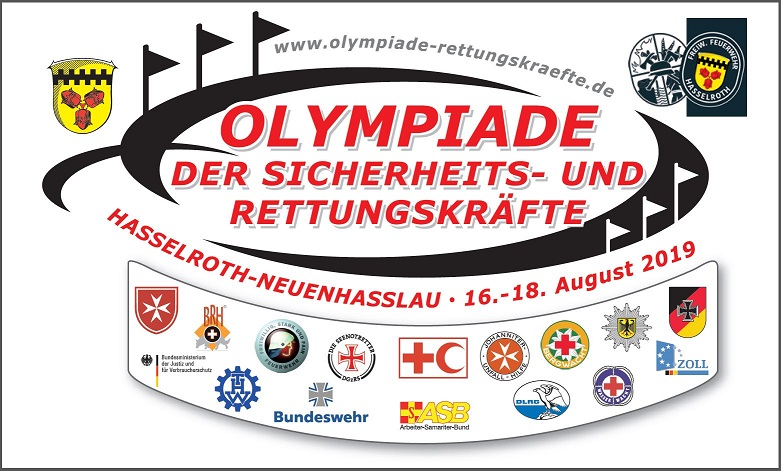 7. Olympiade der Sicherheits- und Rettungskräfte vom 16.08. - 18.08.2019 in  63594 Hasselroth-Neuenhaßlau / Main-Kinzig-Kreis / Hessen / Deutschland